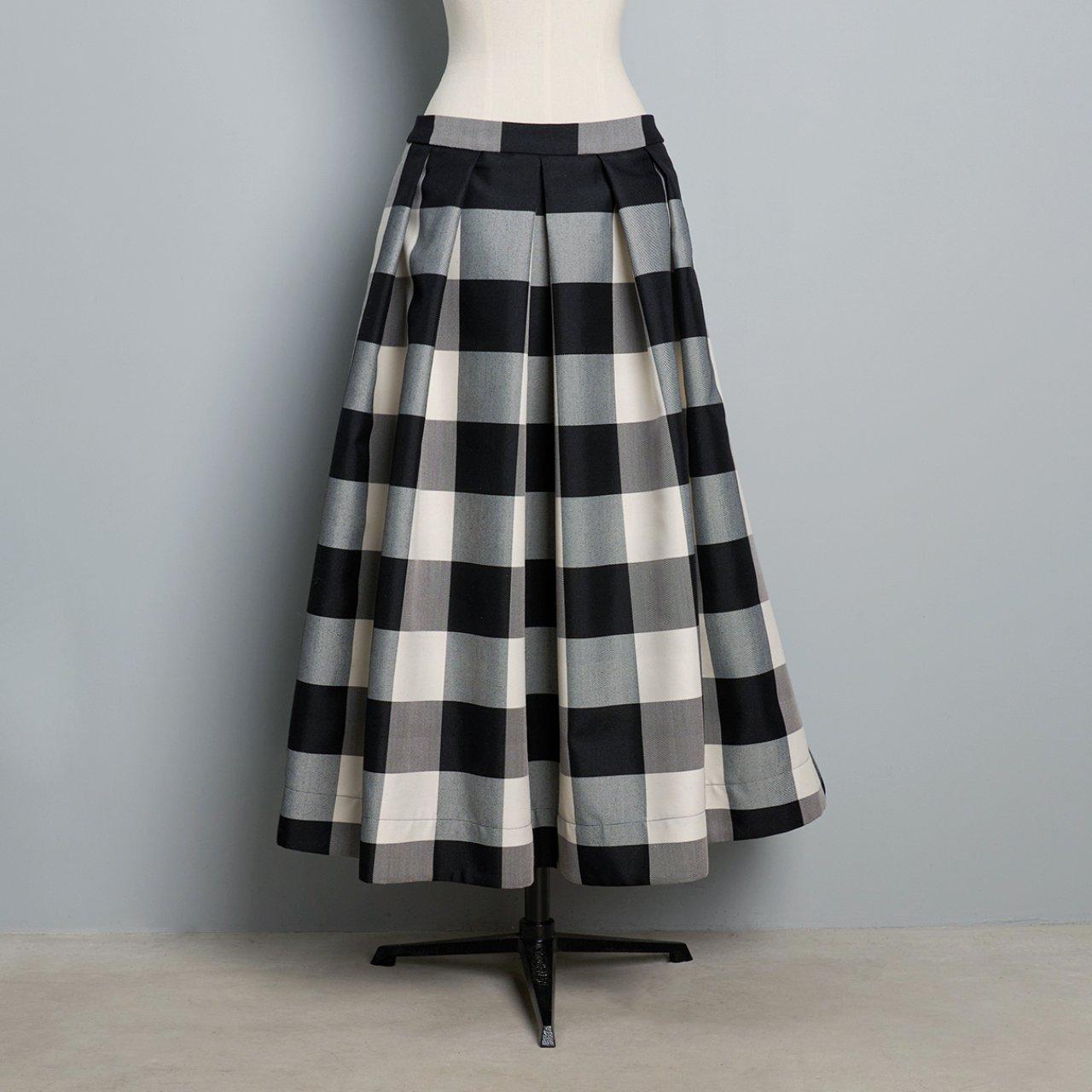 Pale Jute <BR>Block Check Skirt