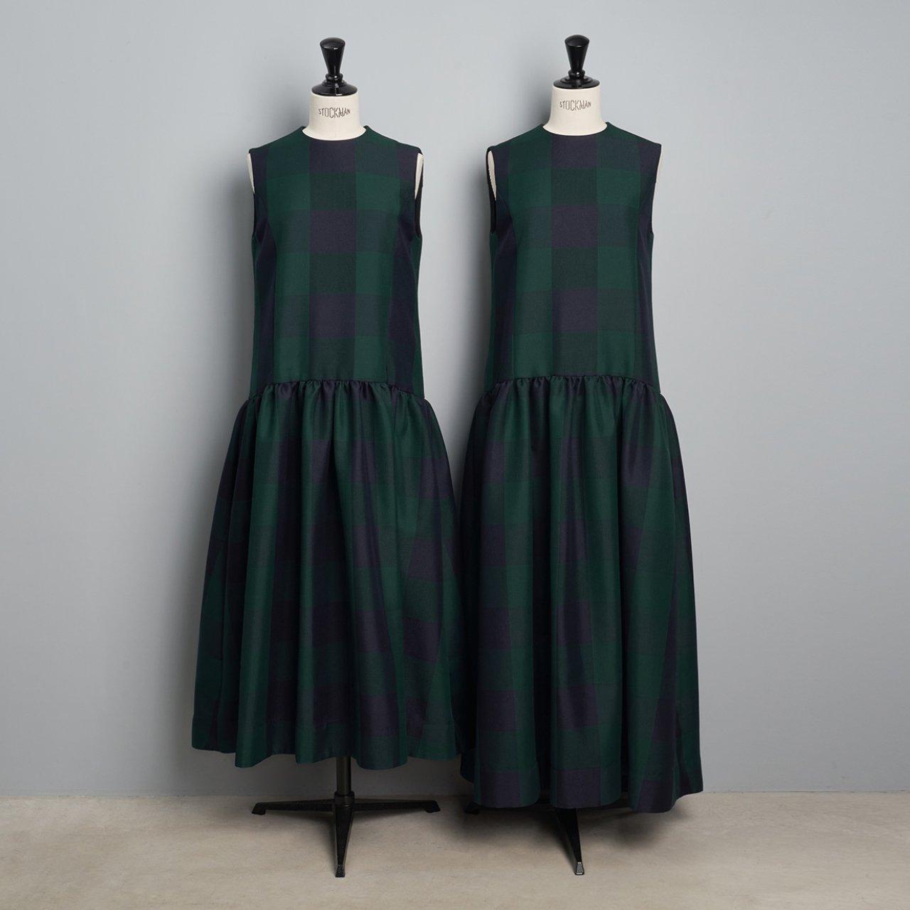 Pale Jute <BR>Block Check dress<BR>green × navy