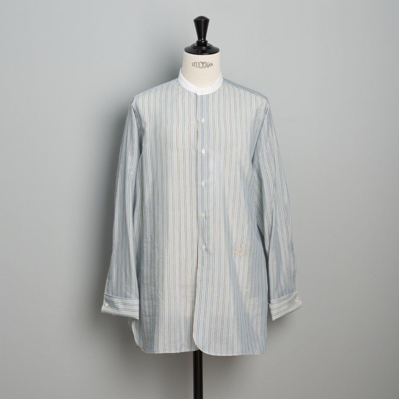 Maison Margiela PARIS <BR>ノーカラーシャツ<BR>ブルーストライプ