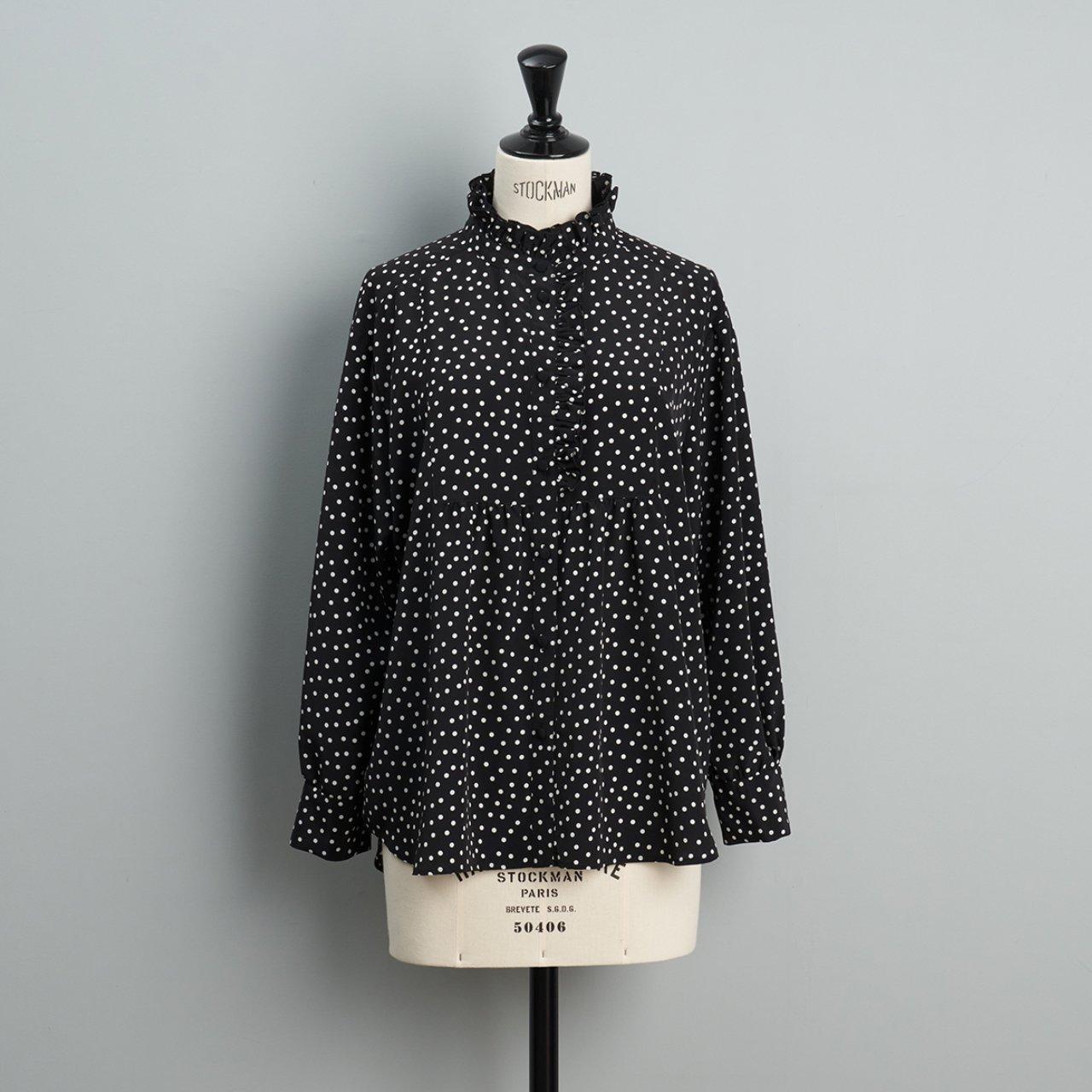 Pale Jute <BR> polka dot blouse <BR> black×white