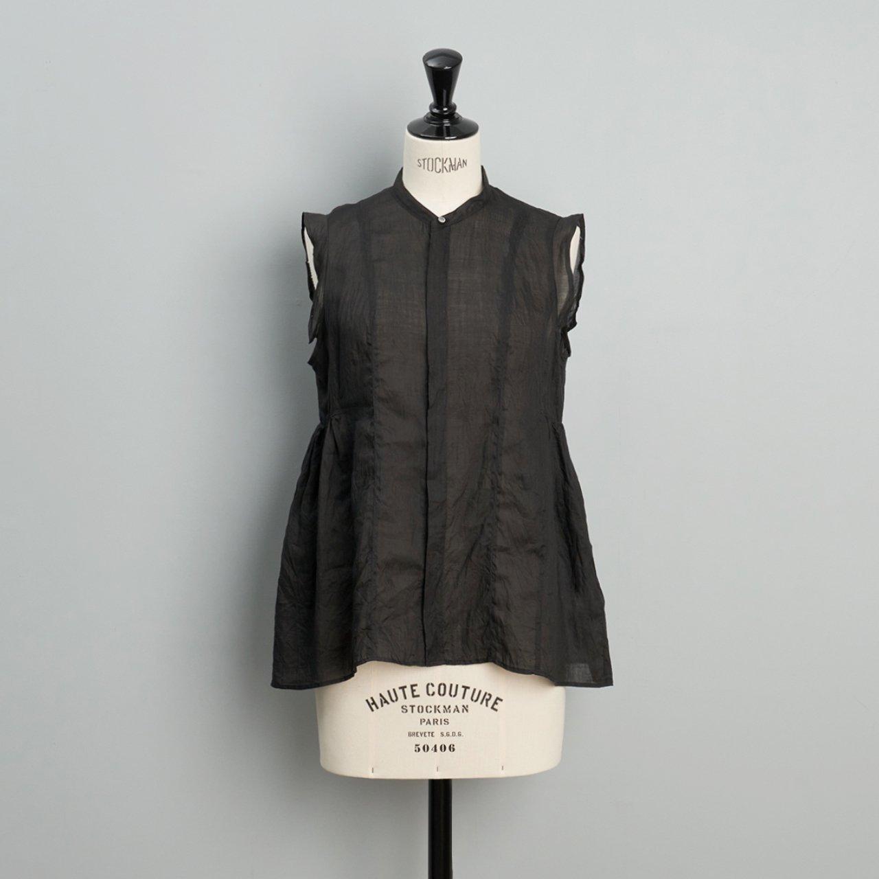 suzuki takayuki<BR>band sleeve blouse<BR>black