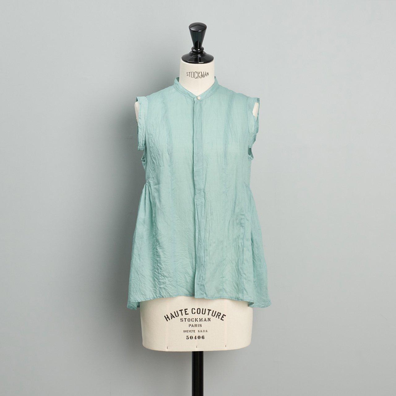 suzuki takayuki<BR>band sleeve blouse<BR>Spray green
