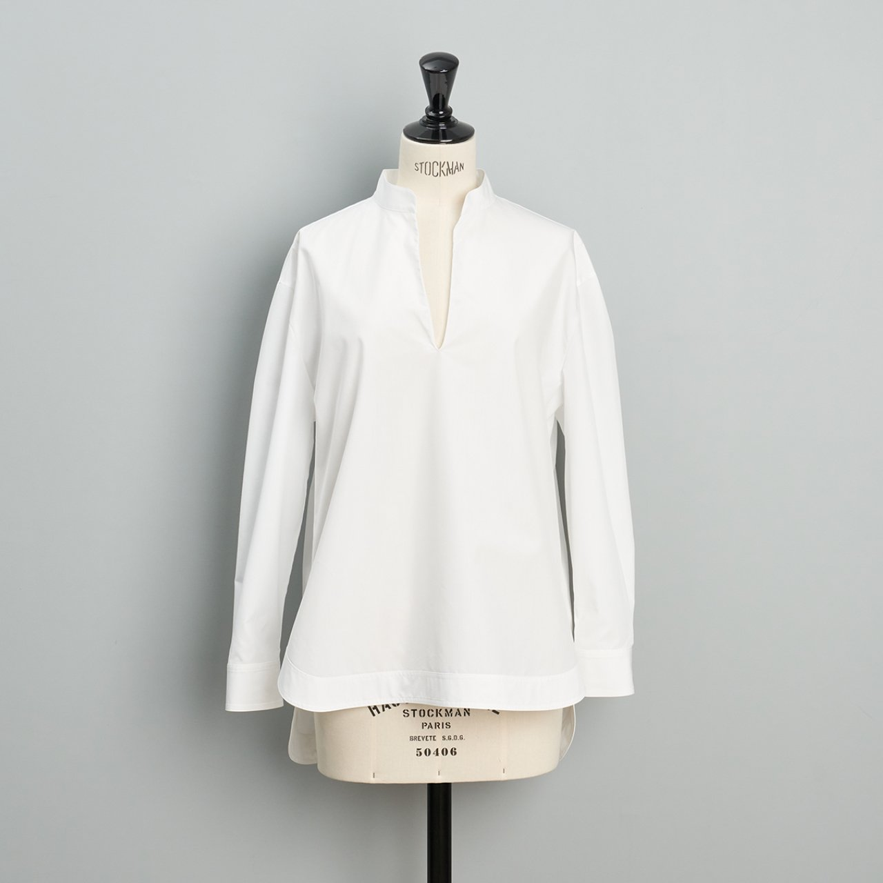 SINME <BR>Vネックオープンシャツ<BR>ホワイト