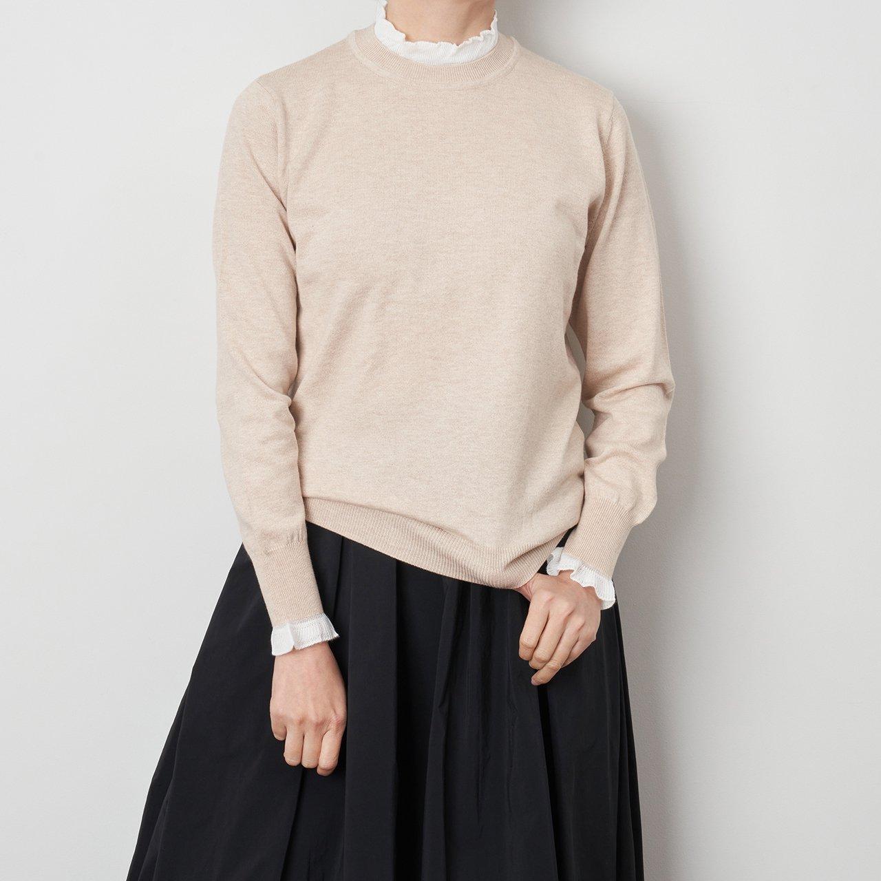 Pale Jute <BR>White frill knit P/O<BR>Beige