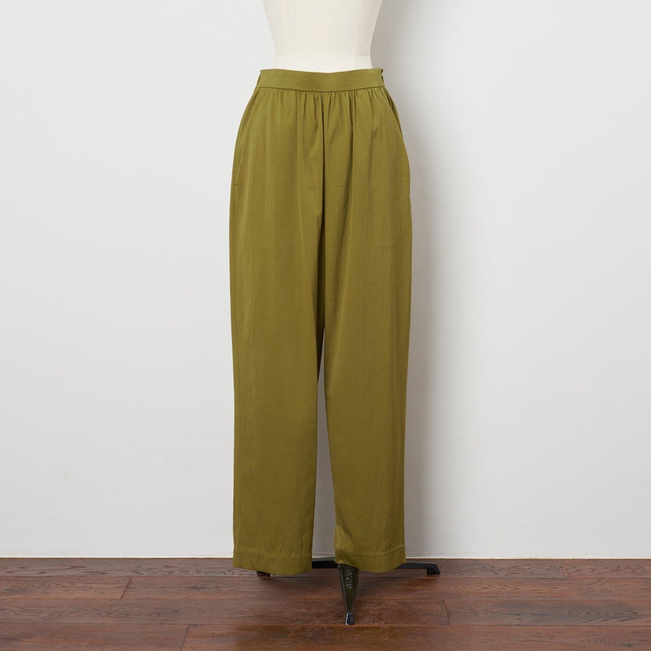 Pale Jute <BR>basic gather pants<BR>khaki