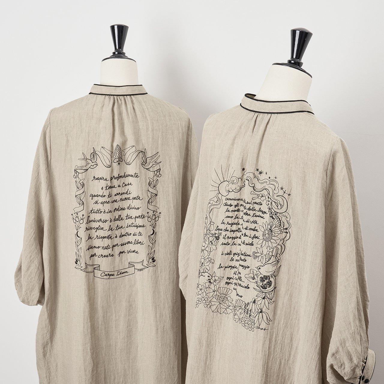 PaleJute<BR>Pale Jute × Chizu Kobayashi embroidery linen one-piece<BR>sand beige × black