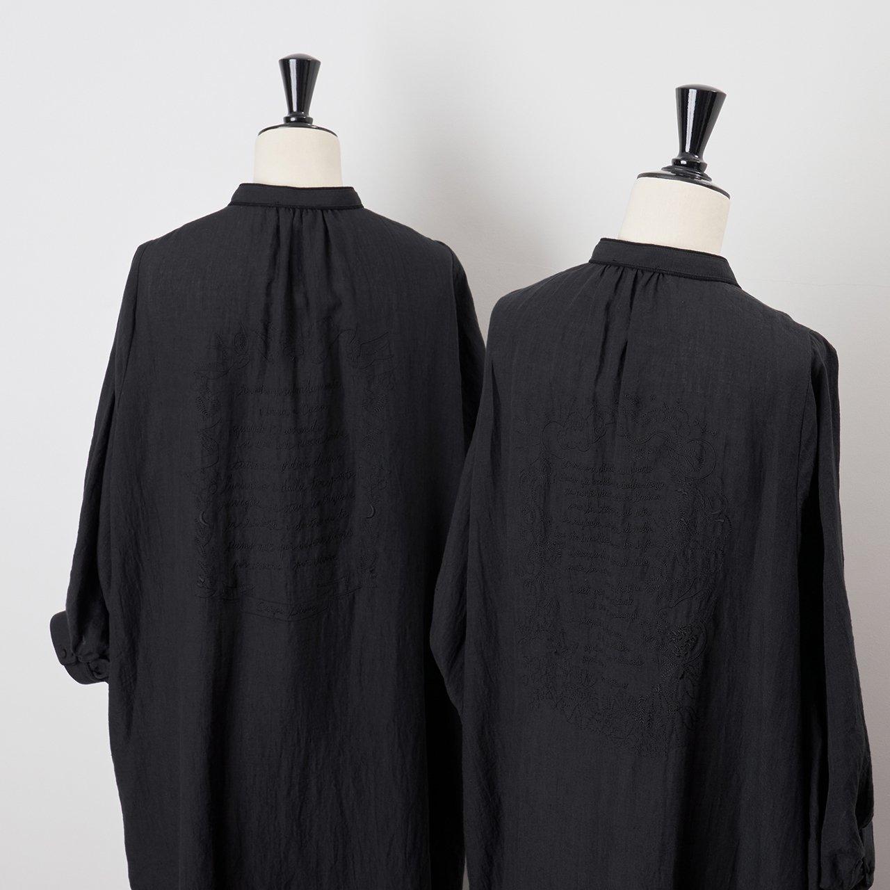 PaleJute<BR>Pale Jute × Chizu Kobayashi embroidery linen one-piece<BR>black  × black