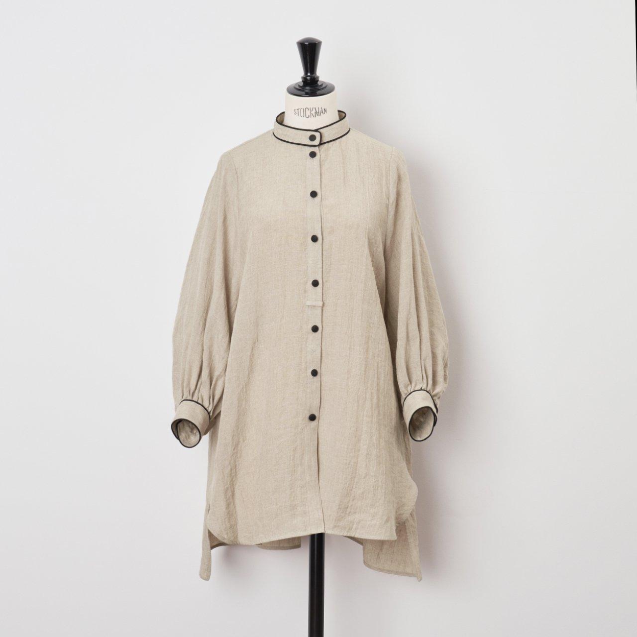 PaleJute<BR>linen long blouse<BR>beige × black