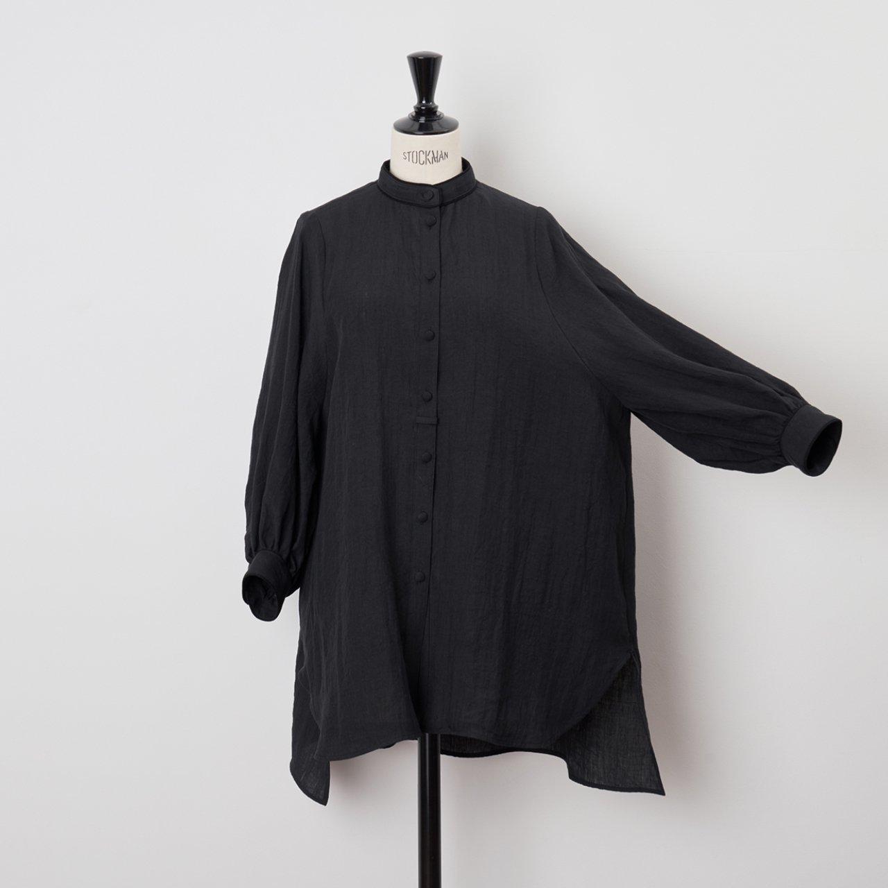 PaleJute<BR>linen long blouse<BR>black×black