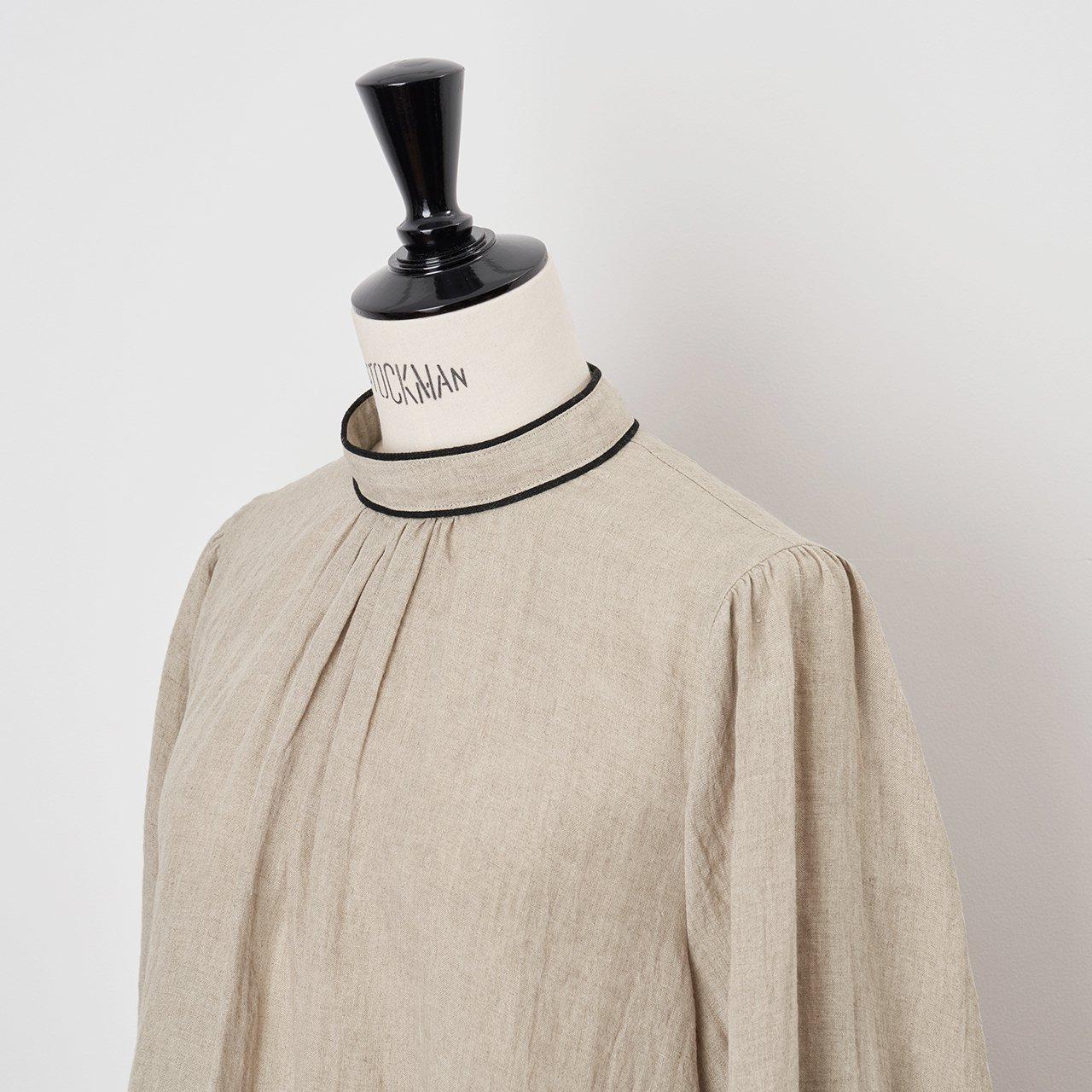 PaleJute<BR>linen PO blouse<BR>beige×black