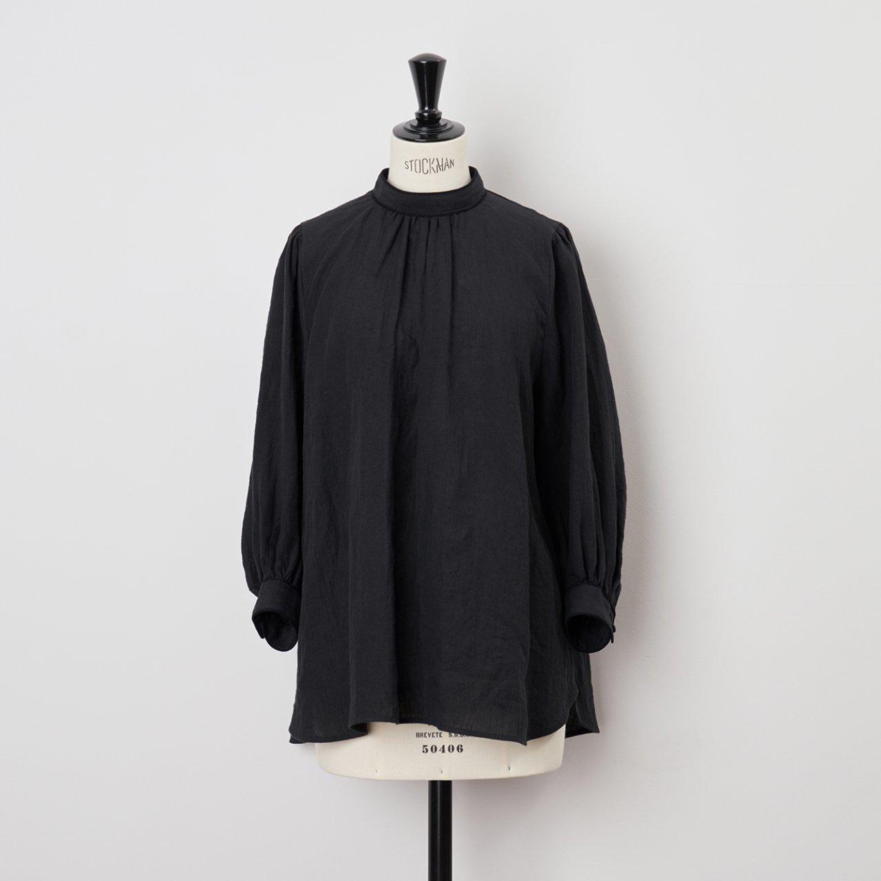 PaleJute<BR>linen PO blouse<BR>black × black