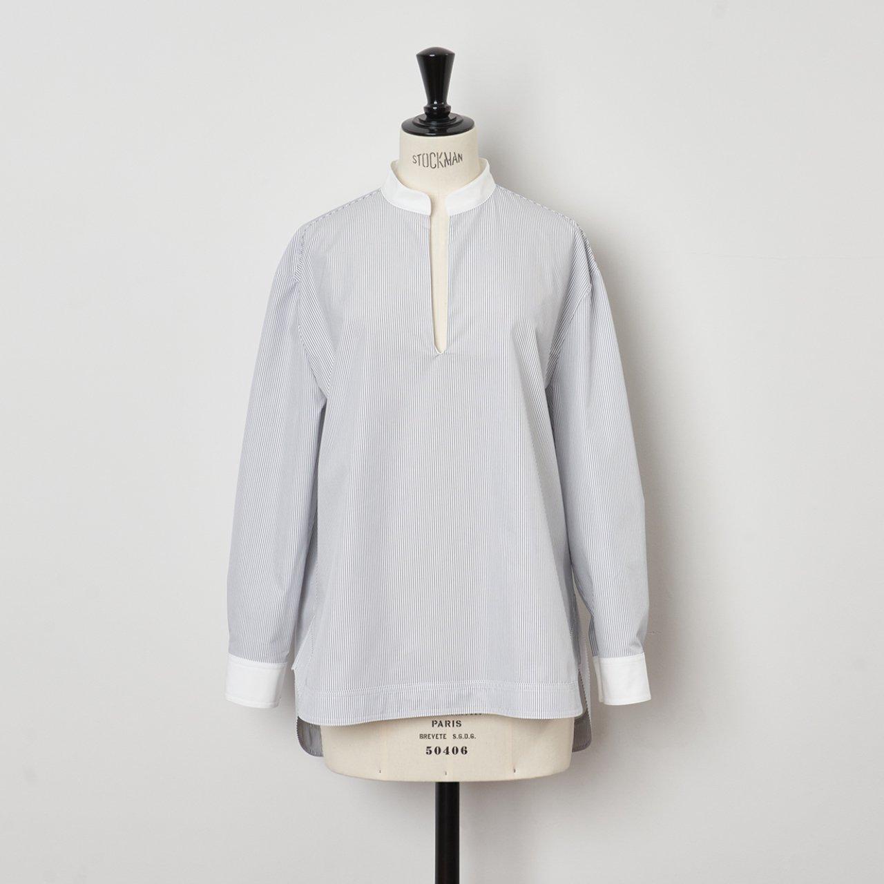 SINME <BR>Vネックオープンシャツ<BR>ホワイト×ネイビーストライプ