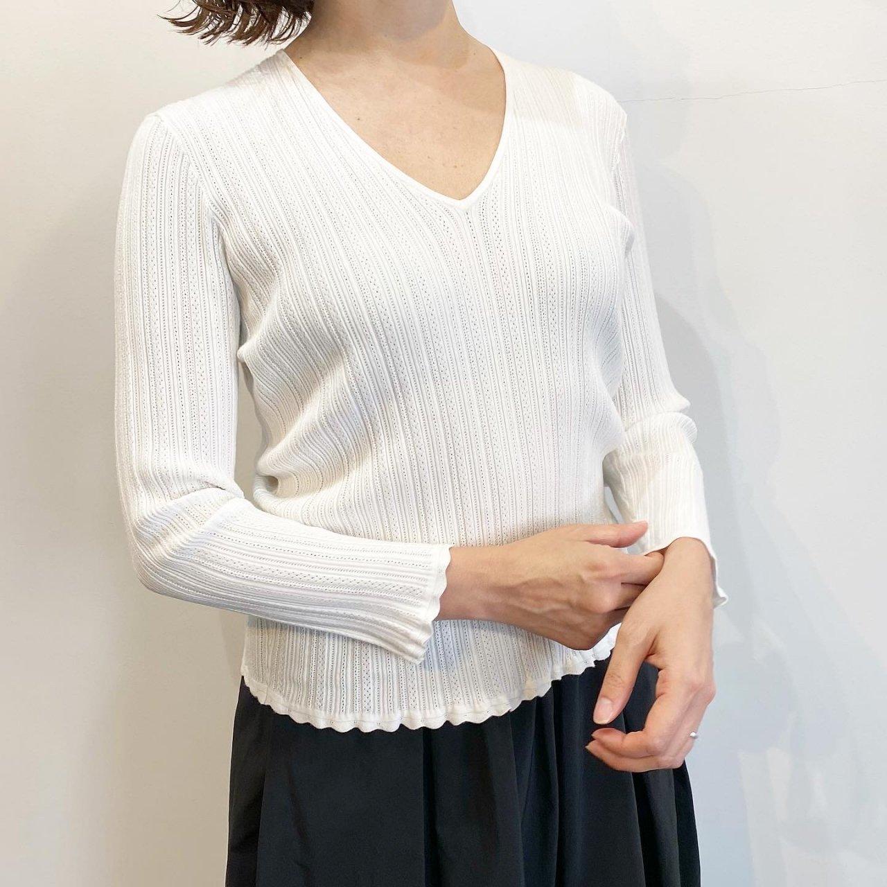 Pale Jute <BR>Eyelet knit V-neck<BR>White