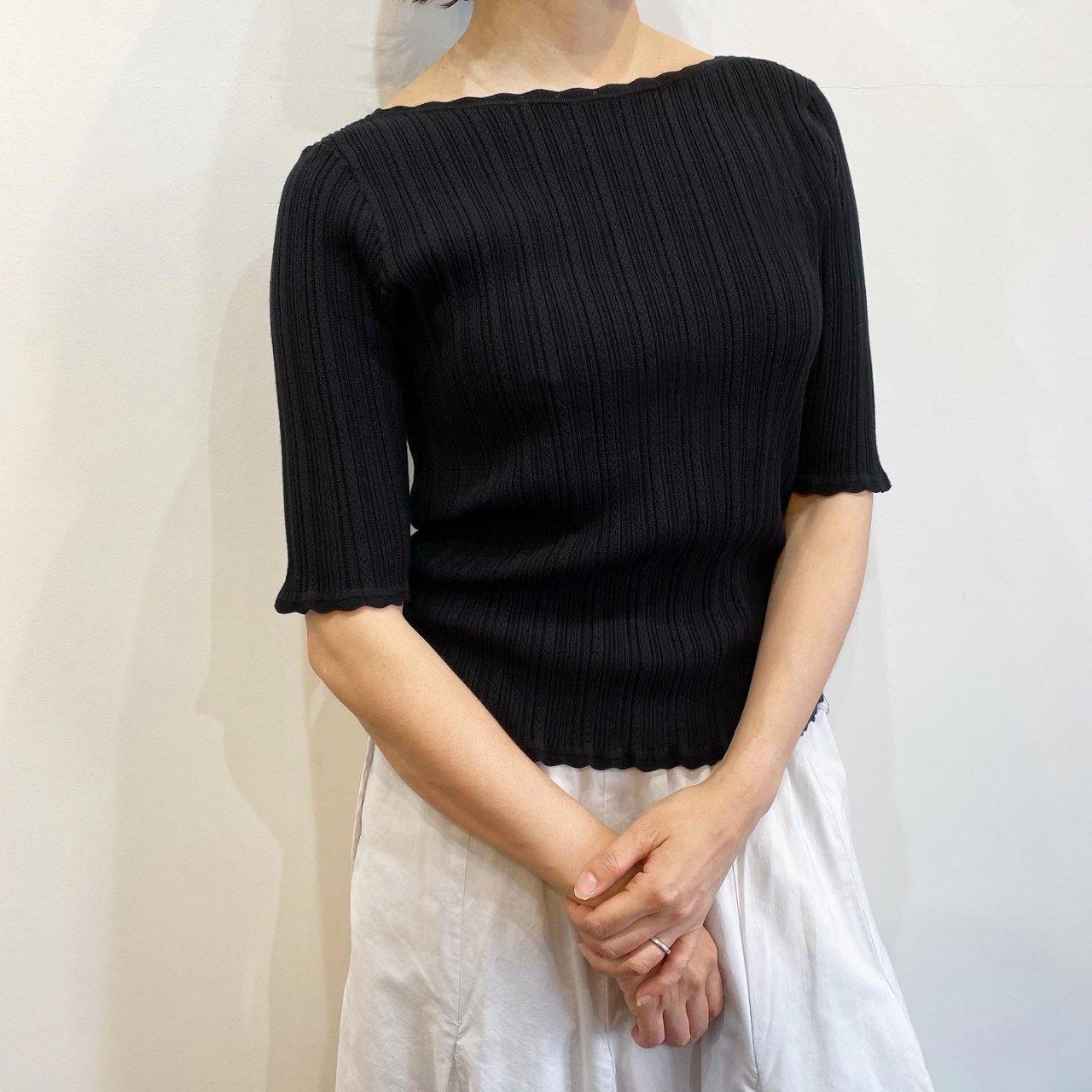 Pale Jute <BR>Eyelet knit B-neck<BR>Black