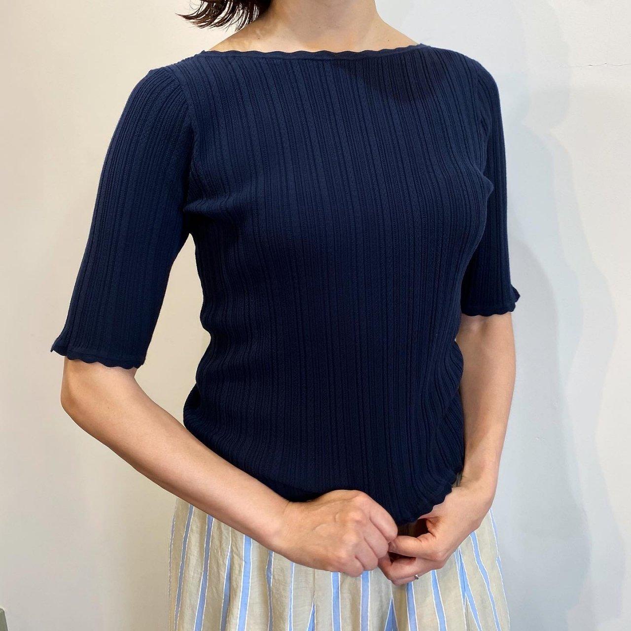 Pale Jute <BR>Eyelet knit B-neck<BR>Navy