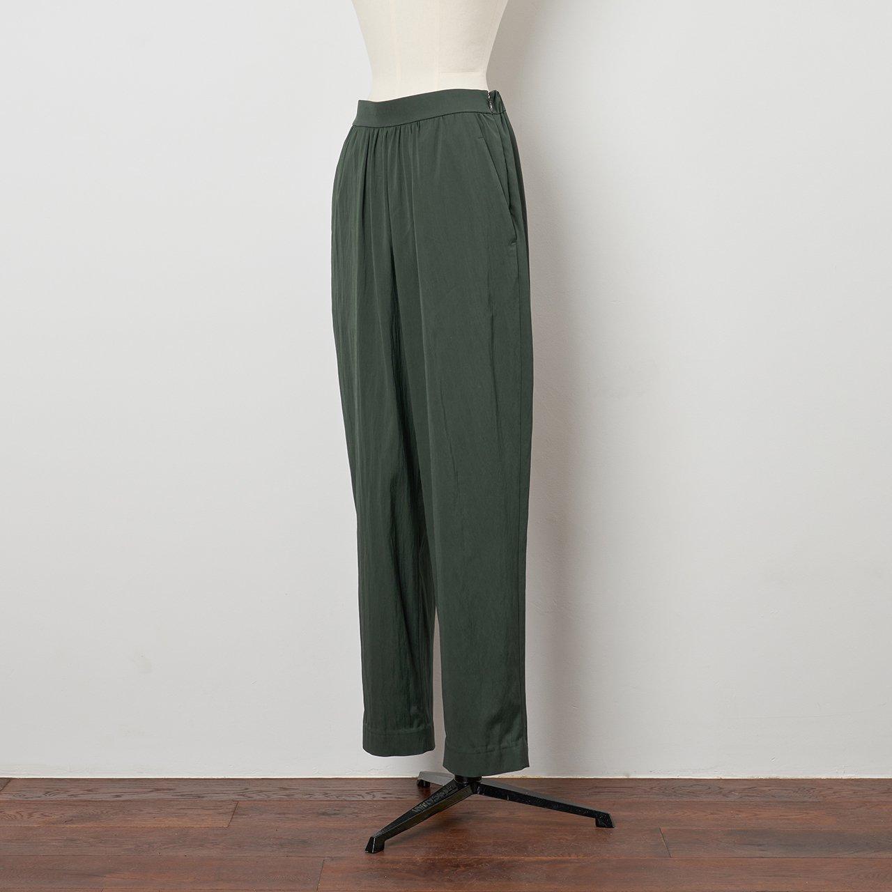 Pale Jute <BR>basic gather pants<BR>navy green