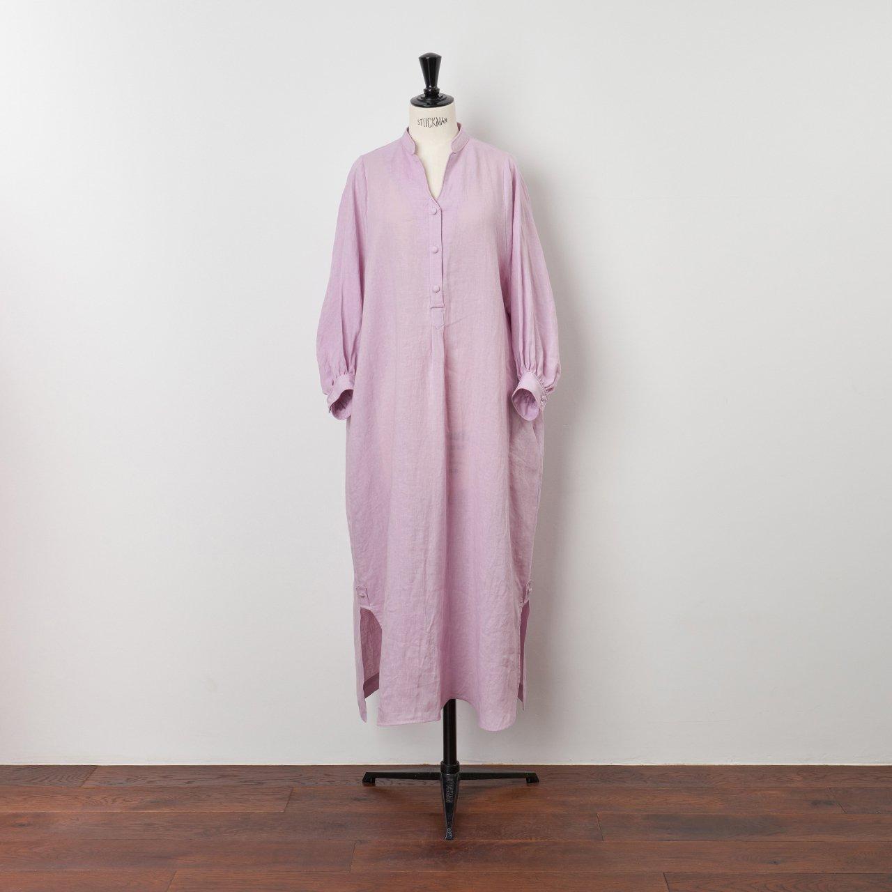 PaleJute<BR>color linen one-piece<BR>lavender