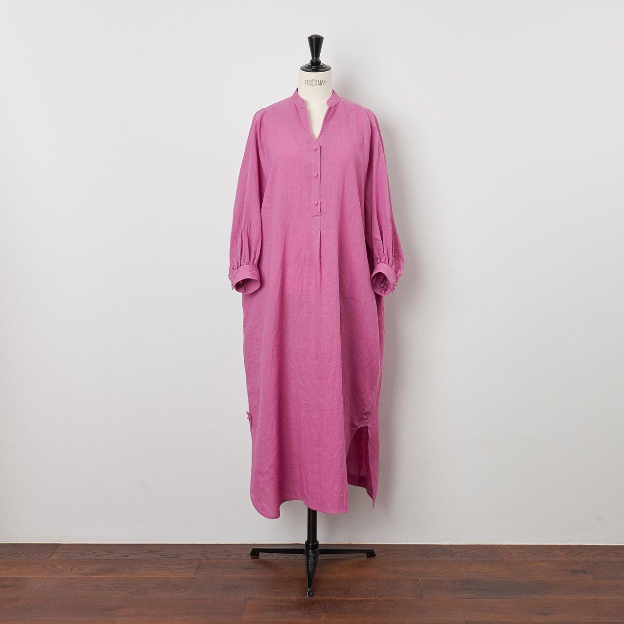 PaleJute<BR>color linen one-piece<BR>lilac
