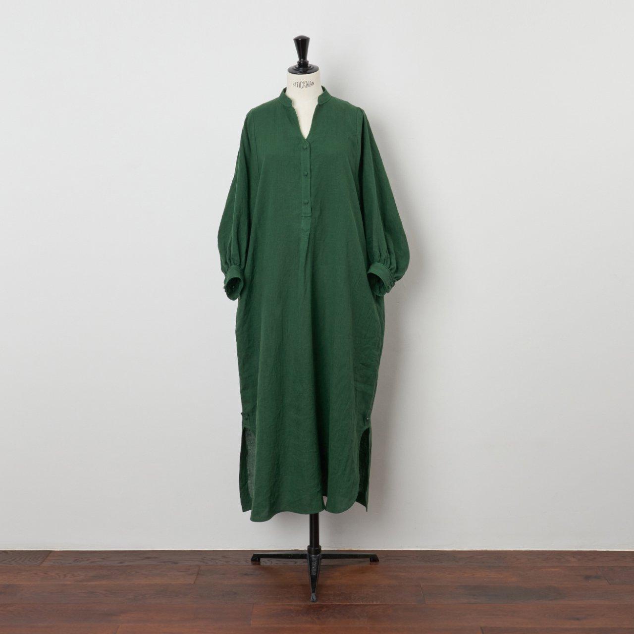 PaleJute<BR>color linen one-piece<BR>forest green