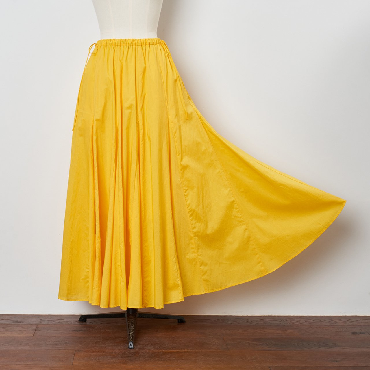 Pale Jute<BR>flare skirt <BR>yellow