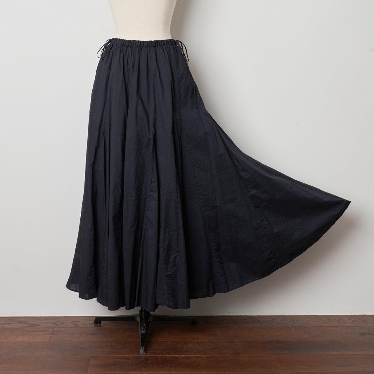 Pale Jute<BR>flare skirt <BR>Navy