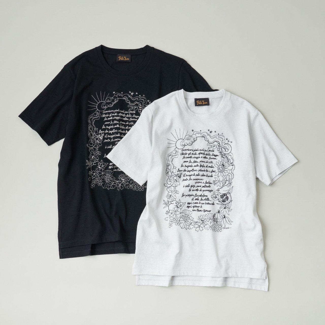 PaleJute<BR>Pale Jute × Chizu Kobayashi embroidery T-shirt<BR>太陽と月