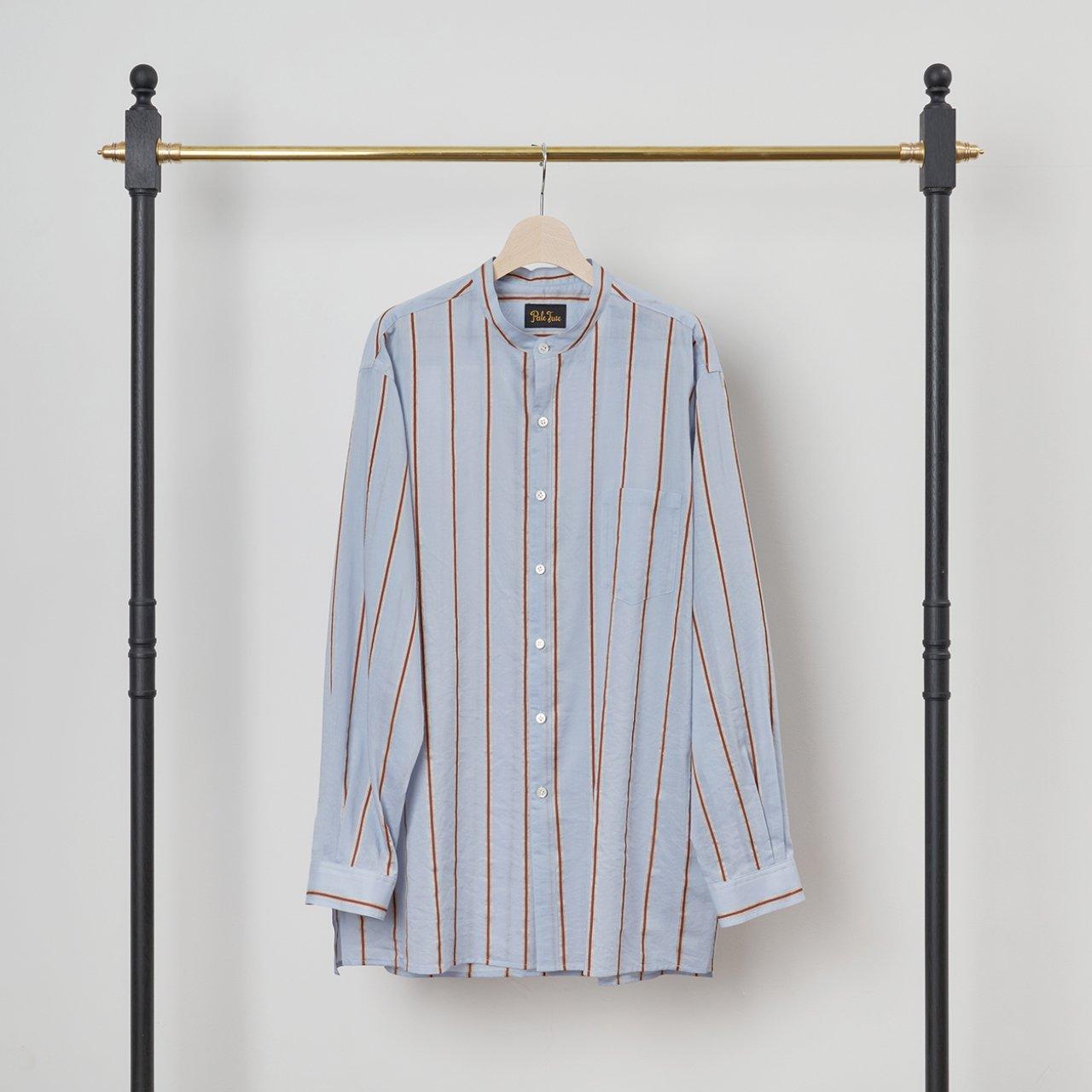 PaleJute<BR>Men's Over Size Stripe Shirt<BR>SAX STRIPE