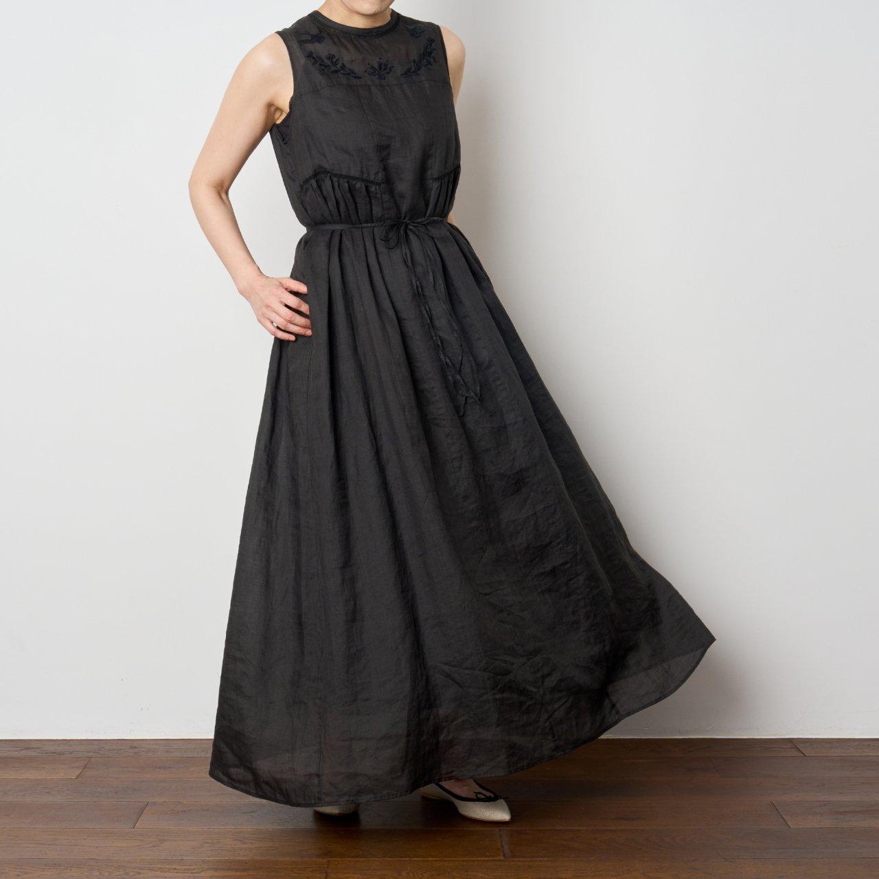 Pale Jute<BR>linen summer dress �<BR>BLACK