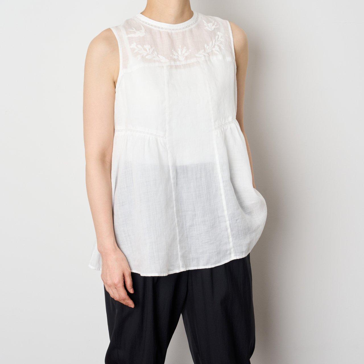 Pale Jute<BR>linen summer blouse<BR>WHITE