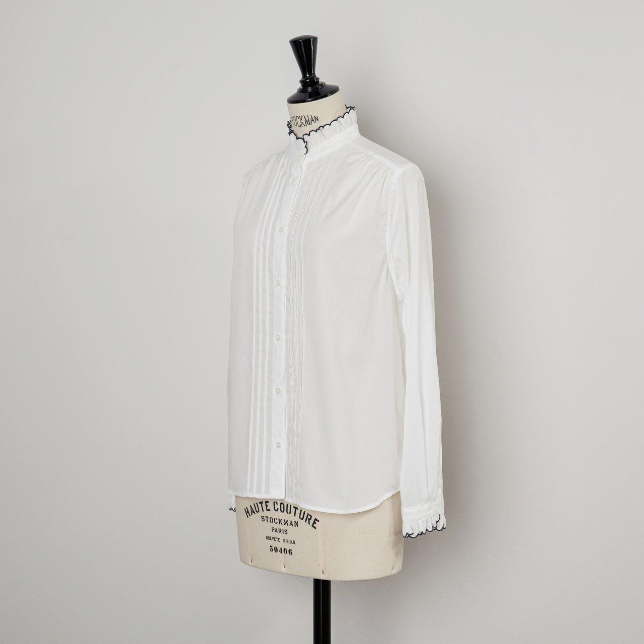 SINME<BR>スカラエンブロイダリーシャツ<BR>ホワイト×ネイビー