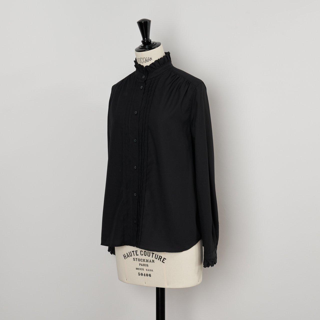 SINME<BR>スカラエンブロイダリーシャツ<BR>ブラック×ブラック