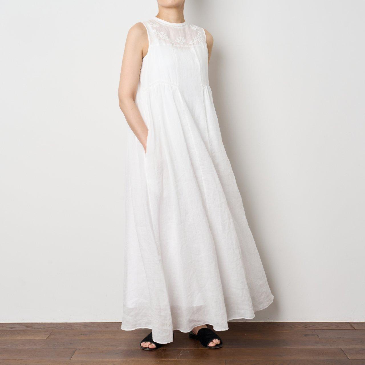 Pale Jute<BR>linen summer dress �<BR>WHITE