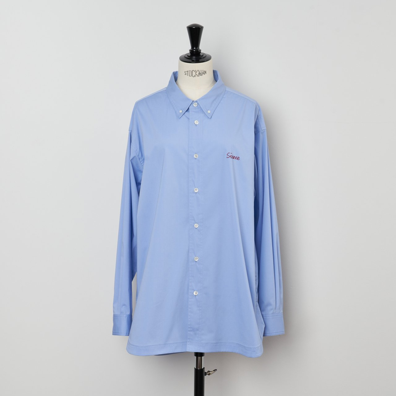 SINME<BR>オーバーサイズシャツ<BR>サックス×レッド