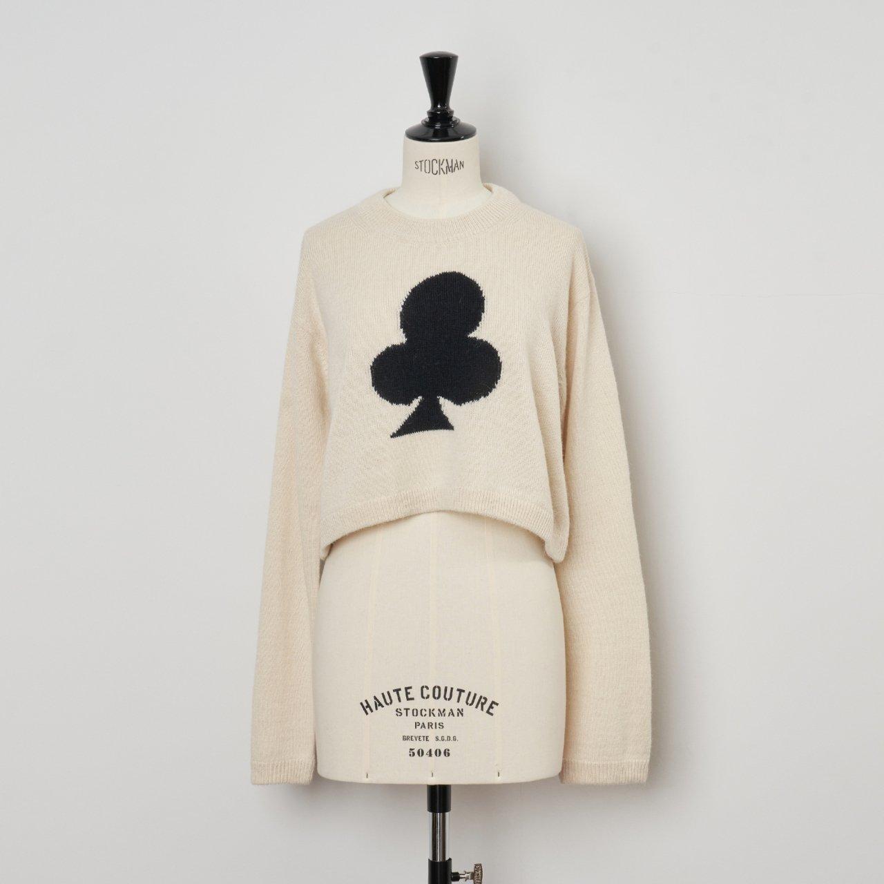 MM 6 Maison Margiela <BR>クロップドセーター<BR>Off White×Black
