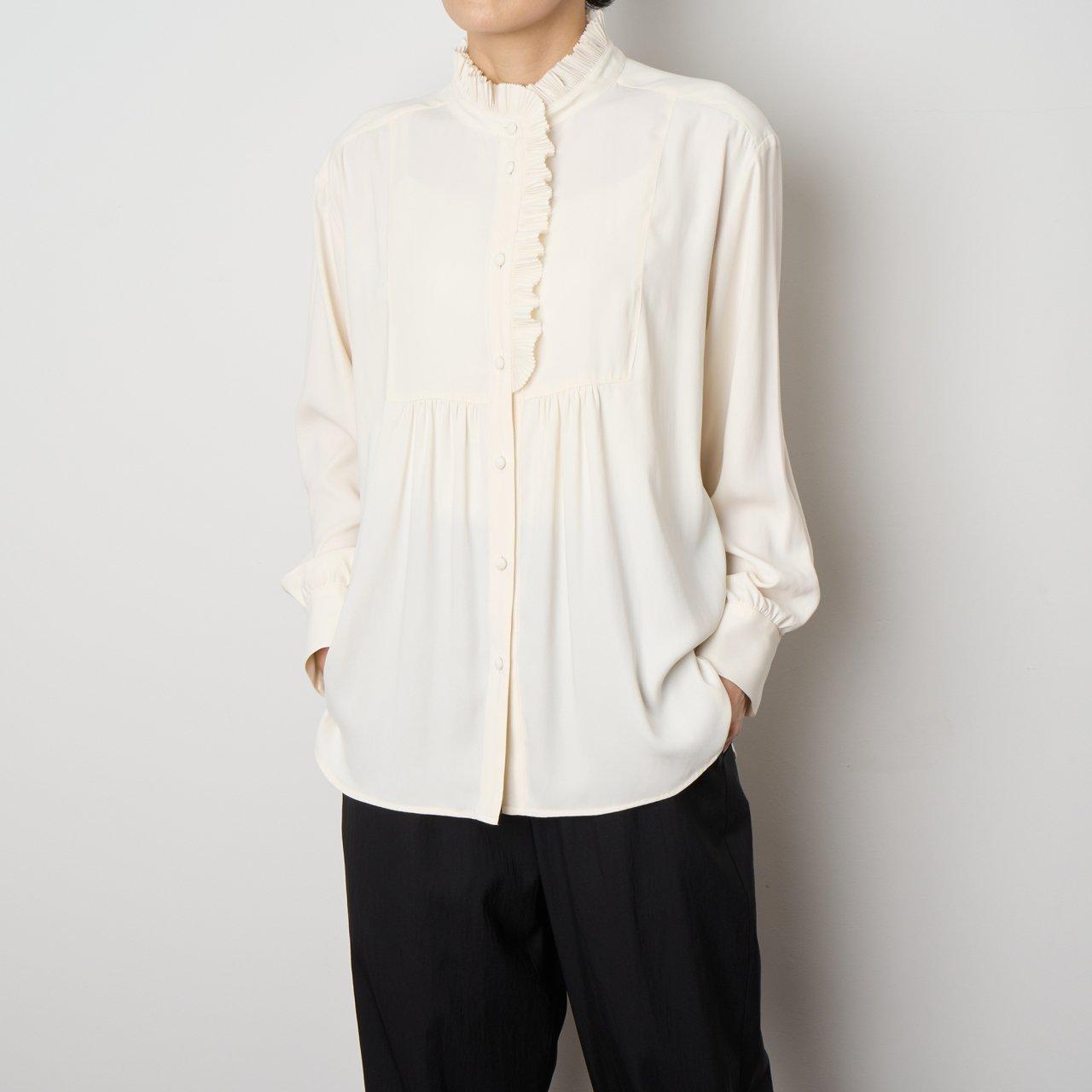 PaleJute<BR>Pleated blouse sophie<BR>vanilla white