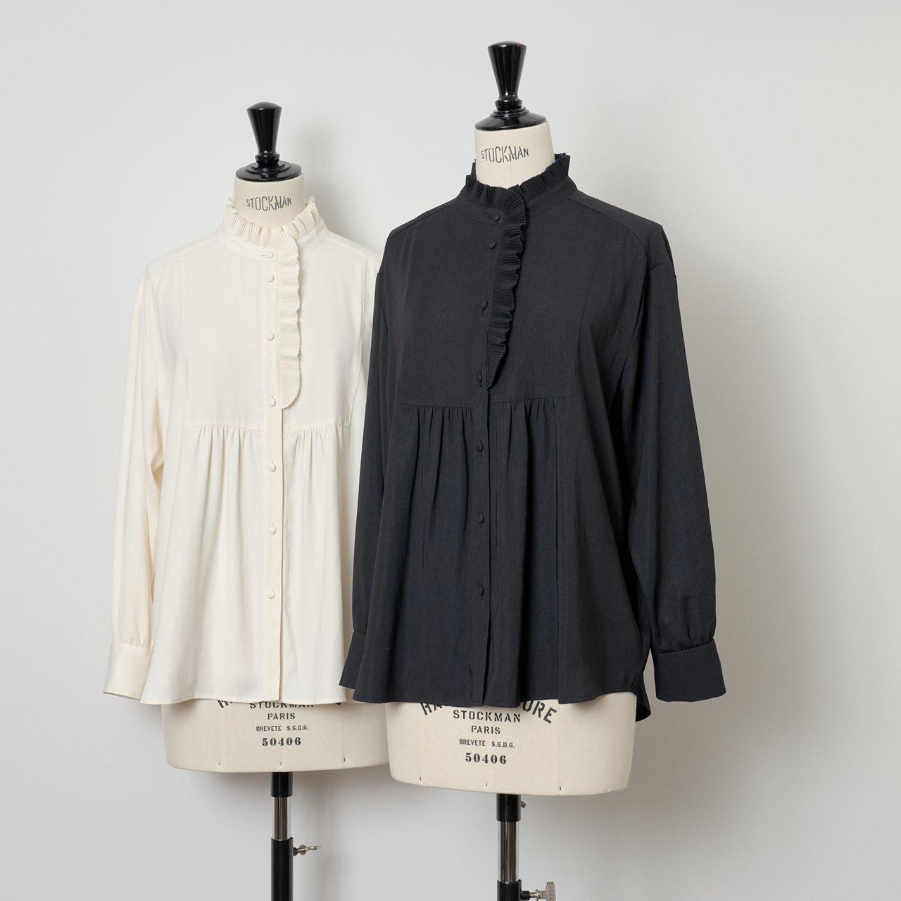 PaleJute<BR>Pleated blouse sophie<BR>midnight black