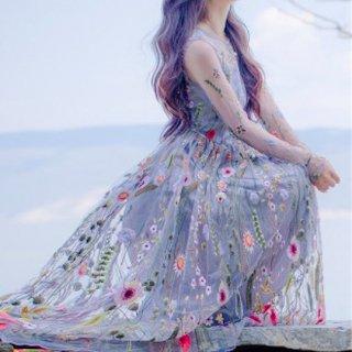 【即納】マタニティ パーティードレス 刺繍 妊婦