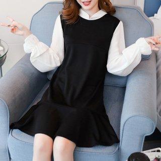 ブラウスの重ね着風デザインがおしゃれな裾フリルの長袖ゆったりワンピース