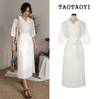 ウエスト切り替えのプリーツスカートがおしゃれ きれいめカジュアルな白のシャツワンピース