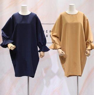 フリルスリーブがおしゃれ きれいめカジュアルなゆったり長袖ワンピース 2色
