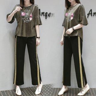 ラメ入り生地が個性的 プリントTシャツとサイドラインのパンツセットアップ パジャマ