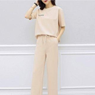 胸元プリントのワンポイントがかわいい半袖パンツセットアップ パジャマ ルームウェア