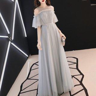 結婚式やパーティーに 上品ワントーンのたっぷりチュールが大人かわいいマキシ丈の肩開きドレス