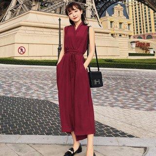 カシュクールがフェミニンなワントーンのきれいめパンツドレス オールインワン 2色
