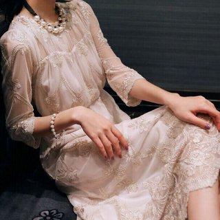 透け感シフォンの花柄刺繍がオトナかわいい袖ありロングドレス ワンピース