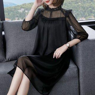 デイリーからお呼ばれまで フリルネックが大人かわいいシースルーの袖あり黒ドレス ワンピース