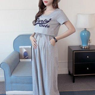 ショート丈のプリントトップスがおしゃれな半袖のスカートセットアップ パジャマ