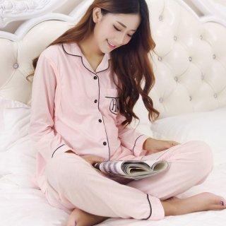 ウエストサイズ調節可能 授乳しやすいデザインがうれしいバックプリントの長袖パジャマ 2色