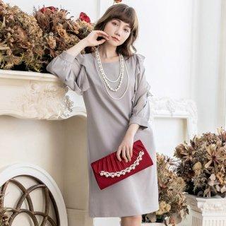 たっぷりフリルのシースルー袖がかわいい上品カラーのフォーマルワンピース 3色