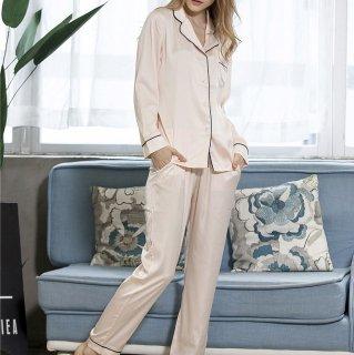 出産準備におすすめ 上品なツヤ感でシンプルだけどおしゃれな長袖パジャマ ルームウェア 3色